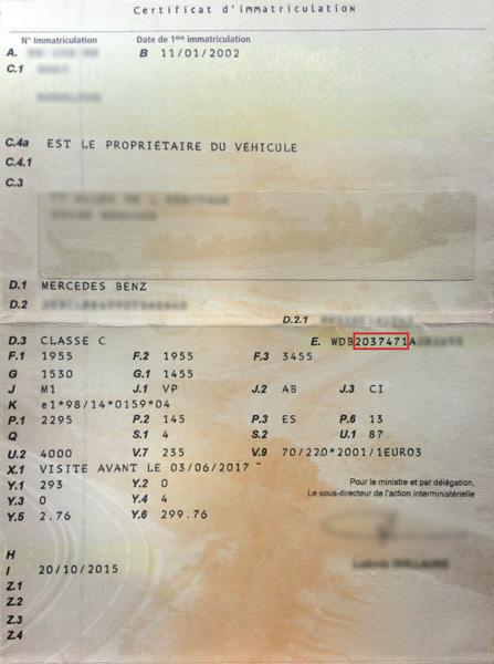 Mercedes-Benz carte grise explications