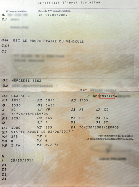 Mercedes-Benz registration document and explanations