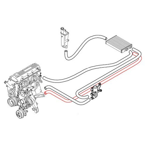 Water hose between engine return and heating radiator for BMW E46