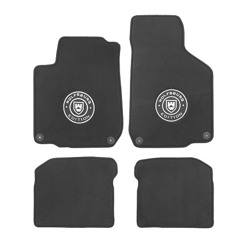 set of 4 wolfsburg edition mats with logo for golf 4 vw mecatechnic. Black Bedroom Furniture Sets. Home Design Ideas