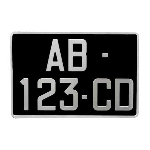plaque d 39 immatriculation siv aluminium noir 300 x 200 mm porsche 356. Black Bedroom Furniture Sets. Home Design Ideas