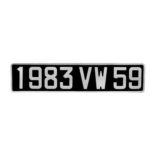 plaque d 39 immatriculation aluminium noir 455 x 100 mm vw 181 mecatechnic. Black Bedroom Furniture Sets. Home Design Ideas