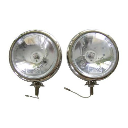 Set of 2 Mini-style stainless steel WIPAC long-range headlights