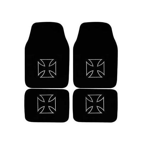 Jeu de 4 tapis Noirs avec Croix de Malte | réf : UB26300