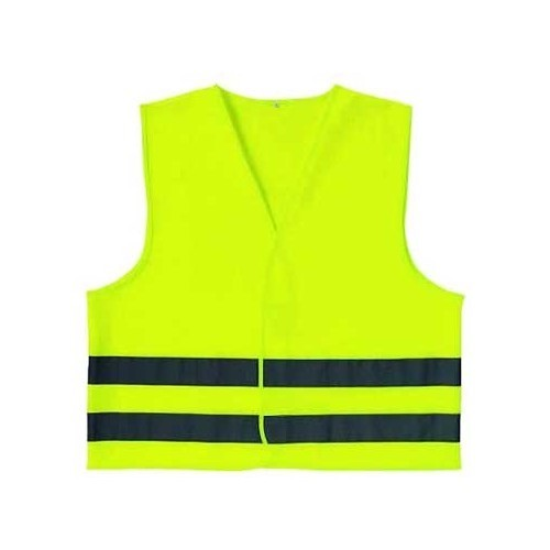 Yellow mesh high-visibility jacket with 2 reflective strips