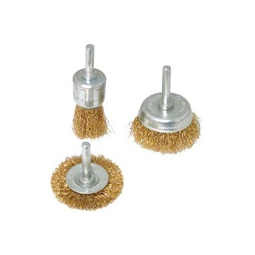Set of 3 metal brushes for drills