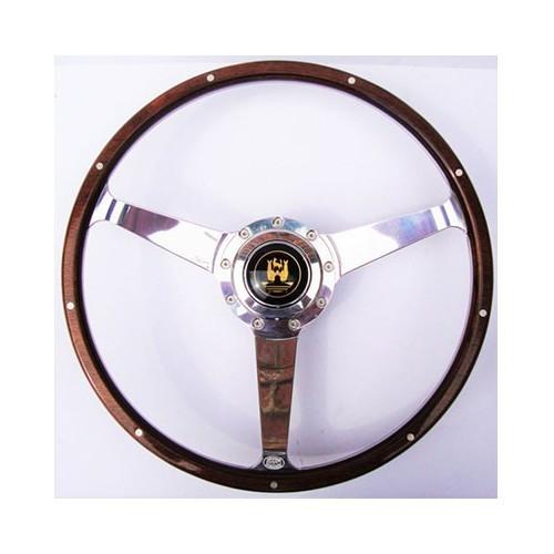 Bouton de klaxon de volant de 14 pouces volant en bois bois fonc/é et alliage daluminium chrom/é pour usine de voiture